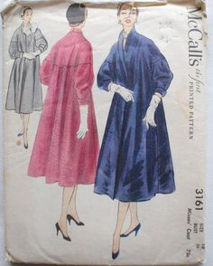 McCall's 3161 - 1950's Sewing Pattern - Lined Coat -Size 18, Bust 36