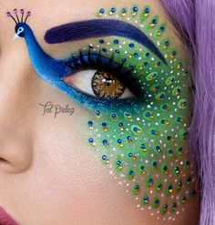 EYE MAKE-UP IDEAS : Face is the index of mind and eyes are the soul, so whole personality would be the reflection of our eyes. Any make-up is incomplete without proper emphasize on eye make-up. Peacock Eye Makeup, Dramatic Eye Makeup, Eye Makeup Art, Eye Art, Face Makeup, Makeup Artistry, Beauty Makeup, Eyeliner Makeup, Make Up Art