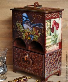 """Купить Чайный домик-буфет """"Бургундская птичка"""" - чайный домик, чайный домик декупаж"""