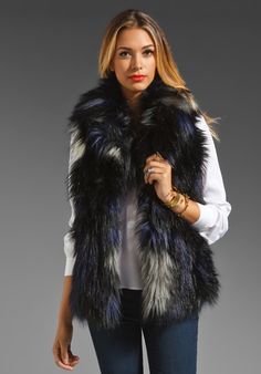 GRAHAM & SPENCER Ikat Fur Vest in Multi at Revolve Clothing
