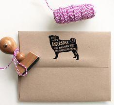 Pug Custom Return Address Stamp - return address stamping and customized gift for holidays, housewarming and weddings, school by MySplendidSummer