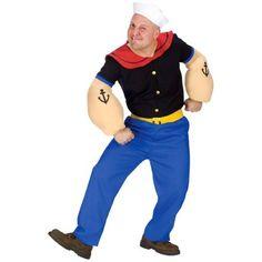 Fun World Costumes Men's Mens Popeye Costume, Blue, One Size