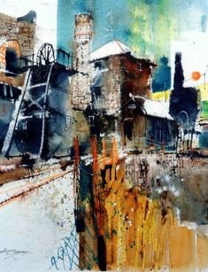 Chris Forsey (UK) SGFA Fence, Stacks and Towers, Geevor. Landscape Artwork, Urban Landscape, Watercolor Landscape, Watercolor Paintings, Watercolors, Acrylic Paintings, Industrial Paintings, Art Folder, Collage Art Mixed Media