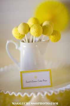 Pretty Yellow Cakes | Pretty yellow cake pops! Yellow Party Full DIY Set Invitations cupcake ...