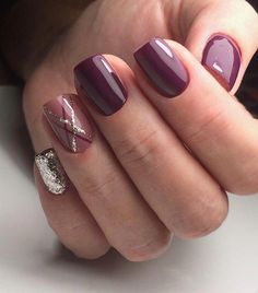 Trendy Manicure Ideas In Fall Nail Colors;Purple Nails; Fall Nai… Trendy Manicure Ideas In Fall Nail Colors;Purple Nails; Burgundy Nails, Purple Nails, Glitter Nails, Purple Hues, Pastel Nails, Fall Nail Art, Fall Nail Colors, Great Nails, Cute Nails
