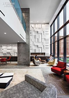 The lobby's feature wall is fiberglass-reinforced gypsum-board. Photography by Alan Schindler. Interior Design Magazine, Hall Interior Design, Lobby Interior, Modern Interior, Interior Architecture, Interior Decorating, Entrance Design, Interior Walls, Lounge Design