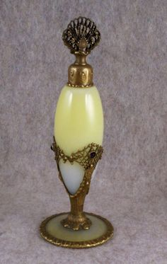 DEVILBISS JEWELED STEUBEN GLASS 1920s ANTIQUE PERFUME BOTTLE