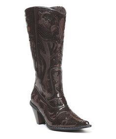 Look what I found on #zulily! Coffee Sequin Cowboy Boots by Simply Couture #zulilyfinds