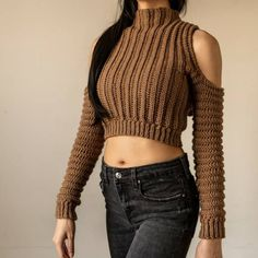 Crochet Long Sleeve Tops, Diy Clothes Design, Crochet Shirt, Crochet Top, Long Sleeve Turtleneck, Cropped Sweater, Crochet Stitches For Beginners, Crochet Bikini Pattern, Hoodie Pattern