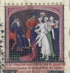 Dionysius I humiliates the women of Locri (fol. 98v)  in De casibus (BNF Fr. 226), first quarter of the 15th century