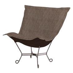 Howard Elliott Scroll Puff Coco Accent Chair Slate Mahogany Frame - 555-891