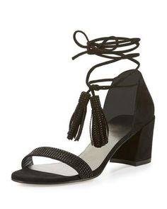 STUART WEITZMAN SPRING LACE-UP CITY SANDAL, BLACK. #stuartweitzman #shoes #flats