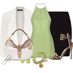 Mint and leopard, created by dgia on Polyvore