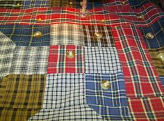 to tie quilt together, consider using buttons instead of knotted yard... Life is a Stitch: Seven Shirts + Seven Steps = One Thrifty Quilt
