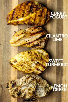 Four unique and easy chicken marinades perfect for adding delicious flavor to your chicken before grilling or baking. Minimal ingredients, incredible flavor!
