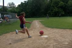playing kickball