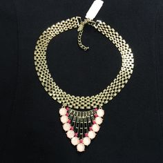 NWT gold w/ pink tone necklace Gold neck hugging necklace.  Perfect to go with jeans or dress. New York & Company Jewelry Necklaces