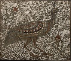 Roman mosaic with a peacock and flowers, 3rd–4th century AD. The Metropolitan Museum of Art, New York.