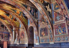 The Sala dei Notari in the Palazzo dei Priori, Perugia, Umbria, Italy Santa Clara, Art And Architecture, Architecture Details, Palazzo, Fresco, Beautiful Ceiling Designs, Perugia Italy, Umbria Italy, Carolingian