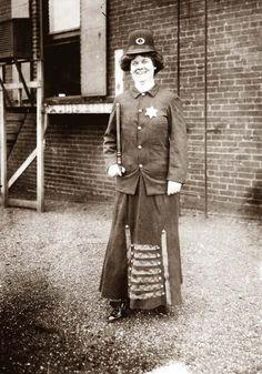 Suffragette posed in police uniform to illustrate woman police concept, Cincinnati, Ohio