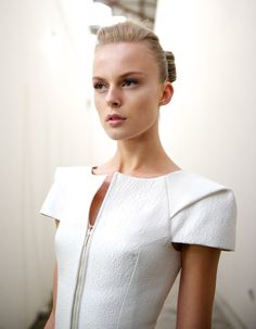 cool chic style fashion: Toni Maticevski | Mercedes-Benz Fashion Week Australia #chignon #geisha #mbfwa