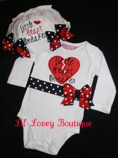 LITTLE HEART BREAKER 2pc. Long Sleeve Bodysuit With Matching Diaper Cover for Valentines Day or Birthday For Newborn or Baby Girl or Toddler. $49.95, via Etsy.