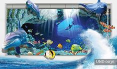 Blue world dolphin sea fish ocean hole cartoon wall wave dolphin Underwater Wallpaper, Sea Fish, Fish Ocean, Cartoon Wall, Nursery Wallpaper, Adhesive Vinyl, All Over The World, Dolphins, Aquarium
