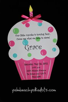 Cupcake Birthday Invitations by palmbeachpolkadots on Etsy, $2.25