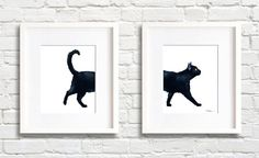 Black Cat Walking - Set of 2 Art Prints - Wall Decor - Watercolor Painting Black Art Painting, Black And White Painting, Watercolor Cat, Watercolor Paintings, Grey Tabby Cats, Black Cat Art, Cat Art Print, Snail Art, Wall Art Prints