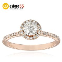 14k Rose #Gold 1/2 Carat Center #Diamond Halo #Bridal #Ring (0.7 cttw, H-I Color, I1 Clarity)