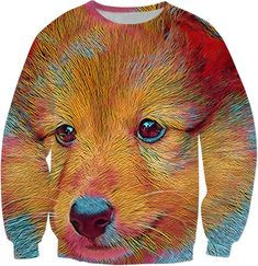 Get this product at RageOn! Double Take, Style And Grace, Crew Neck Sweatshirt, Shirt Style, Organic Cotton, Dog Lovers, Print Design, Puppies, Animal