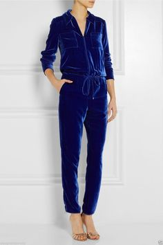 Tamara Mellon Drawstring Velvet Jumpsuit IN Royal Blue MSRP $949 | eBay
