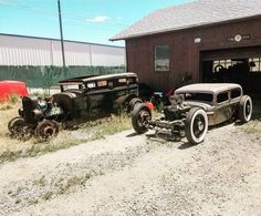 My husband's mistresses taking in the sun while he cleans the garage :) : RatRod