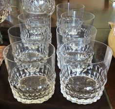 "Set of 8 Old Fashioned crystal tumblers have a beautiful modern, Swedish vibe. The pattern is ""Sylvia"" made by Orrefors in Sweden."
