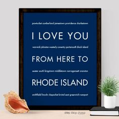 Ocean views, historic towns, and blue skies all comprise the smallest state: Rhode Island. This typography art poster will delight the islander in your life. This print makes a unique gift for a weddi