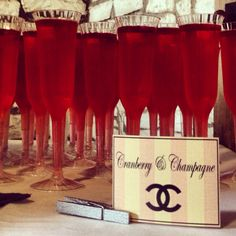 """Chanel themed baby shower - signature cocktail """"Cranberry & Champagne"""""""