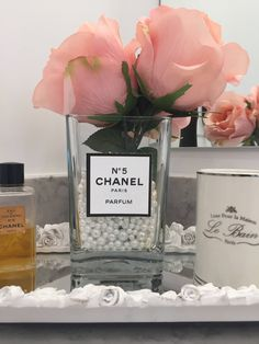 Ready Made Chanel Perfume Inspired Floral Arrangement Pink Roses in Pearl Filled Glass Vase by KarinaPollLtd on Etsy