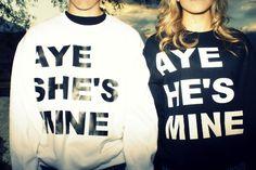 Boyfriend & Girlfriend matching sweatshirts<3 adorable!!<3