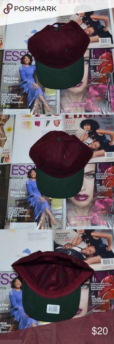 Hat (Strapback, Burgundy) Condition: New Color(s): Burgundy & Green Description: Burgundy strapback hat with green brim Accessories Hats