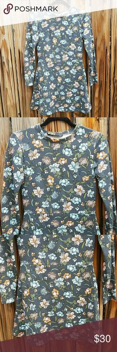 TRF by Zara floral print long sleeve dress Beautiful in perfect condition dress. Size small. Sweater like material. Zara Dresses Midi