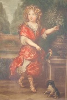 S. ARLENT EDWARDS PENCIL SIGNED MEZZOTINT  depicting a regally dressed young girl with spaniel and bird posed by an urn, 16x10in