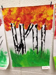 Student Art  birch trunk created by dragging a credit card across a thin line of paint?  scroll through post to see pic of students creating this