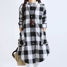 Women Plaid Blouses Long Sleeve Cotton also in Plus Sizes – FunZilli