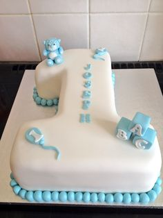 Baby boys 1st birthday number 1 cake #yummiliciouscakes