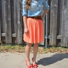 Spring outfit - Coral & Chambray