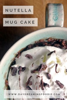 Nutella Mug Cake. Quick and easy cake... in the microwave! What's not to love!  Nutella isn't glamorous – it's not designed for gourmet dishes or mind blowing recipe design. Or in this household it's not anyway. It's a sneaky spoonful of pleasure that's happy to fulfil your need for chocolatey, sugar filled goodness at a seconds notice. Therefore, my favourite Nutella recipe is the sort of recipe you can whip up at a moments notice. It even has a handle. Maybe it could accompany you in the…