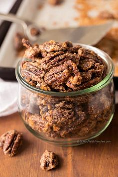 Candied Pecans are the most delicious sweet crunchy snack. Perfect for topping ice cream, tossing in salads or to grab a handful for a snack! | Spend With Pennies