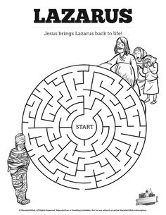 John 11 Lazarus Bible Mazes: Can your kids navigate each twist and turn of this Lazarus Bible maze? With just enough challenge to make it fun this printable Lazarus activity page is a great resource for your upcoming John 11:1-44 Sunday school lesson.