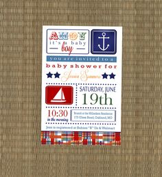 Plaid Nautical Baby Shower Invitation - Madras Sailboat Baby Shower Invitation - Baby Boy Sailboat Nautical Invitation. $15.00, via Etsy.