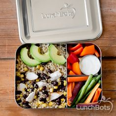 Dinner leftovers for lunch! Rice, beans, corn, chicken, avocado, and veggies in the LunchBots Bento Trio! #fillandgo #backtoschool #lunchbots